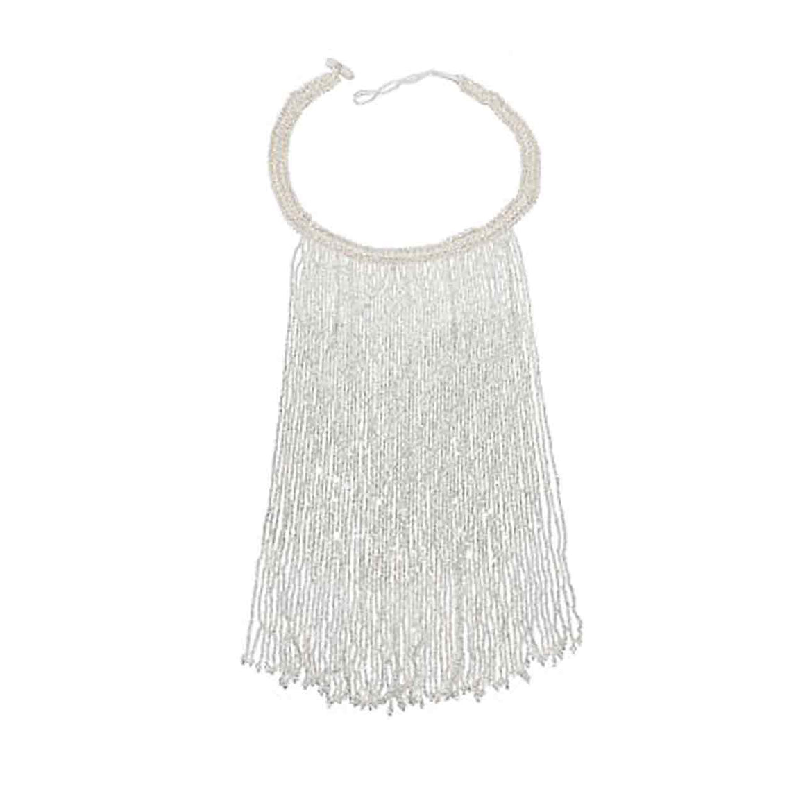 Silver Colour Potay Fringe Necklace