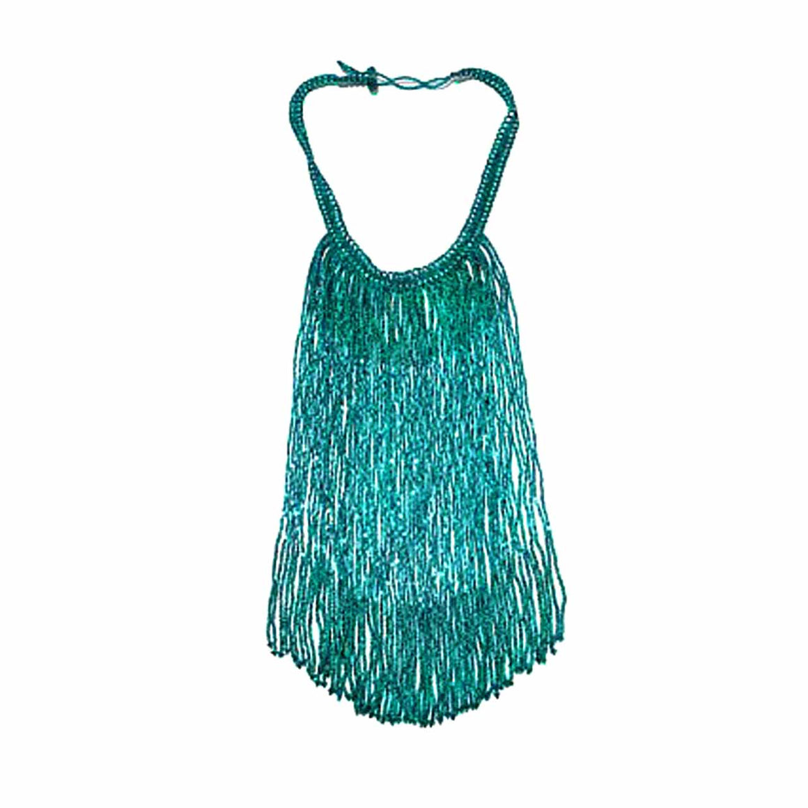 Teal Colour Potay Fringe Necklace