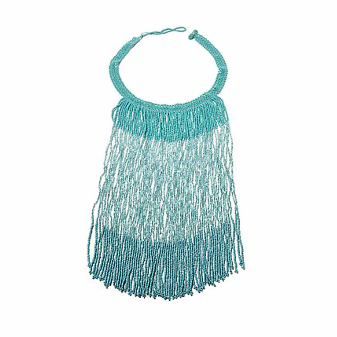 Mint Colour Potay Fringe Necklace