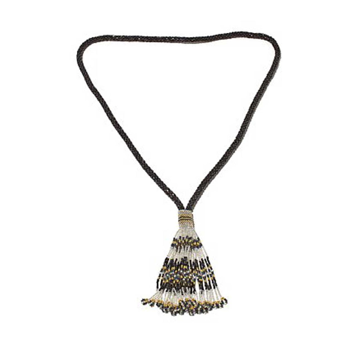 Black Bugle Bead Potay Y-Necklace with Tassell