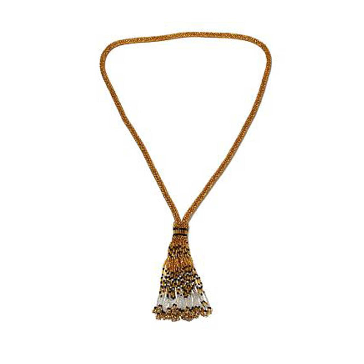 Gold Colour Potay Beaded Y-Necklace with Tassell