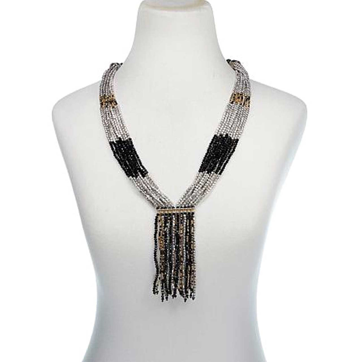 Black Potay Beaded Tassel Necklace