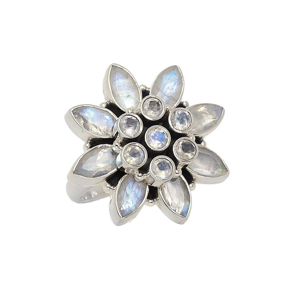 Faceted Rainbow Moonstone Flower Ring