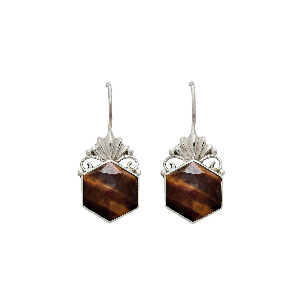 Faceted Tigers Eye Earrings