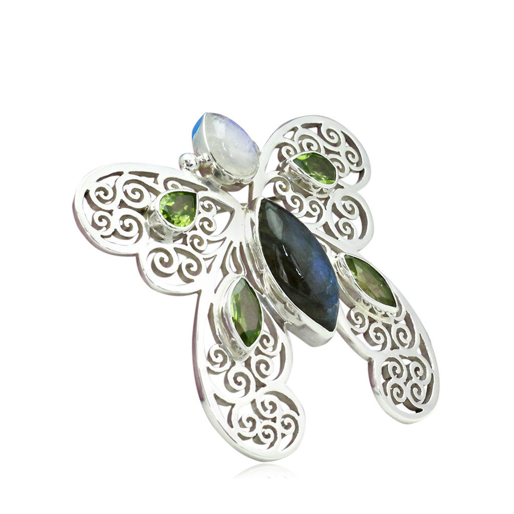 Labradorite and peridot Butterfly Pin
