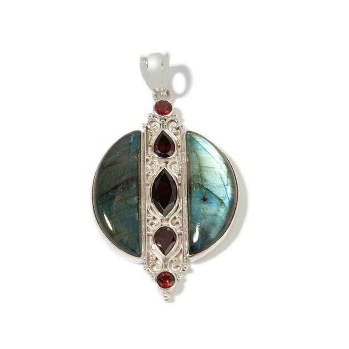 Labradorite and Garnet Pendant