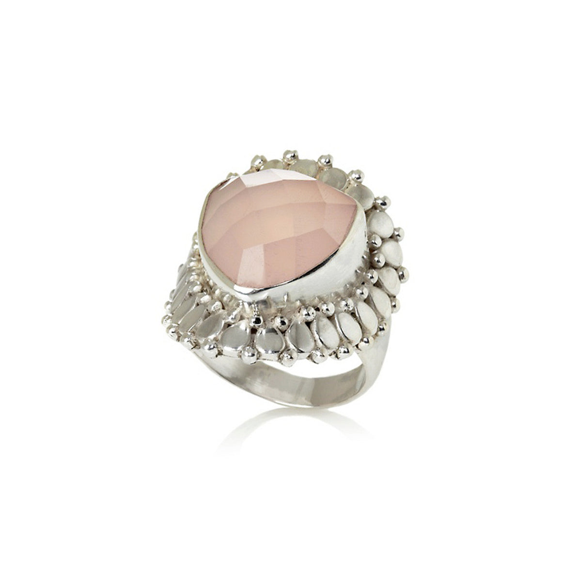 Pink Chalcedony Trilliant Ring