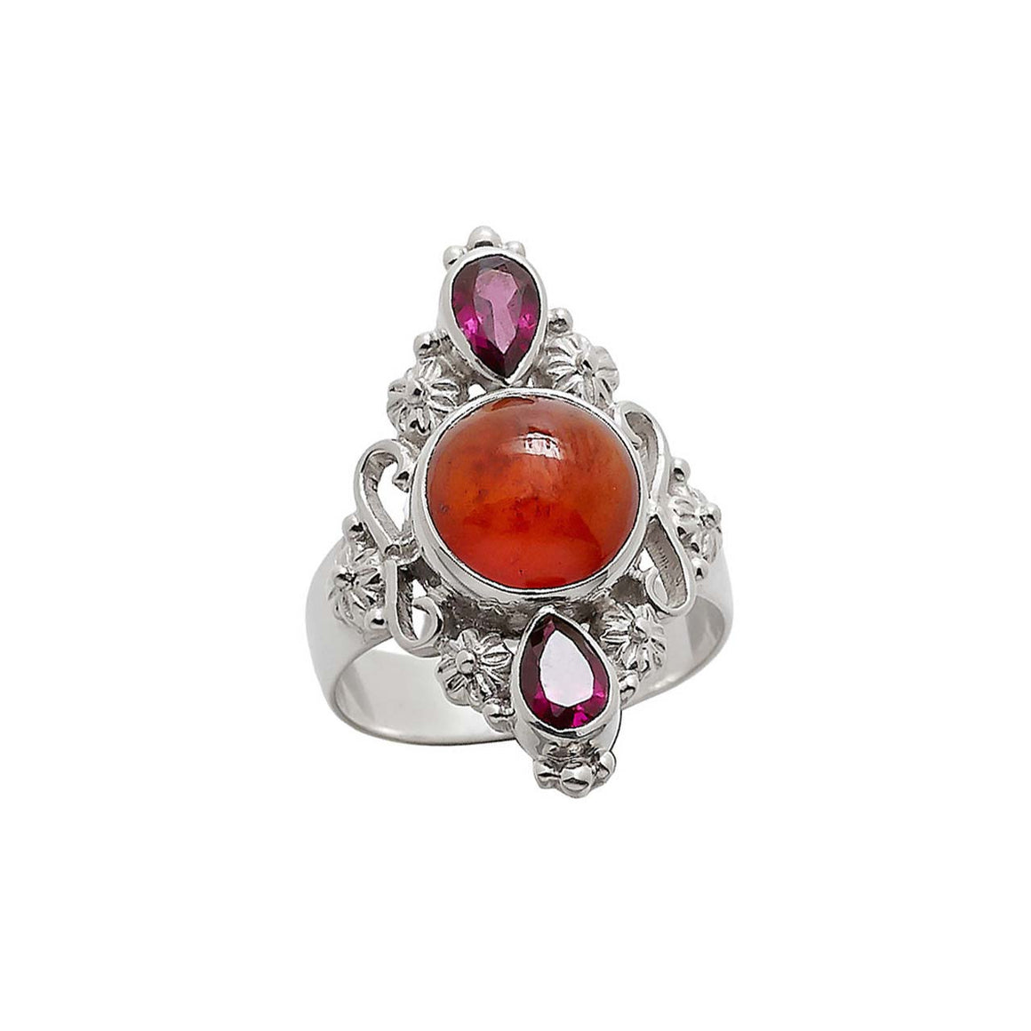 Hessonite and Rhodolite Garnet Ring