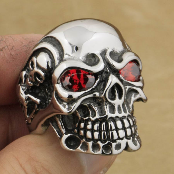 Stainless Skull Ring with Red Eyes