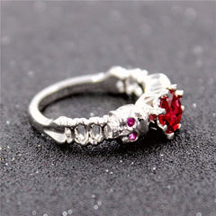 Enchanting Skull Ring With Red CZ Gem - Skulltimate