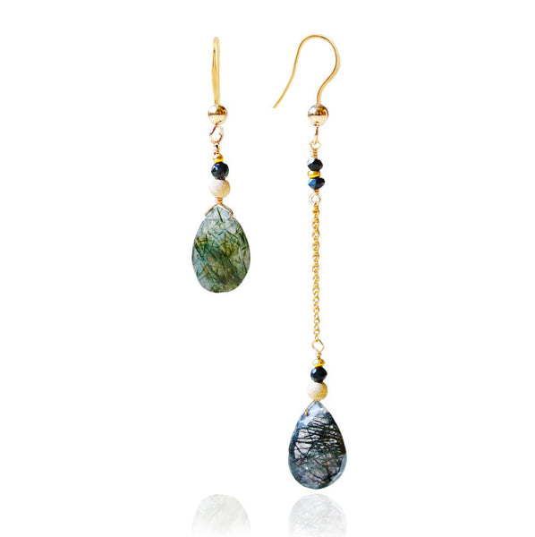 Rutilated Quartz & Black Onyx Earrings