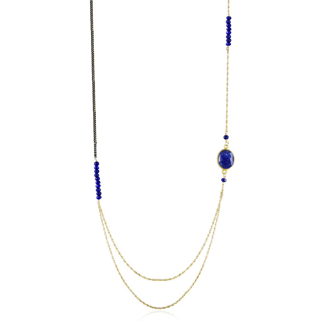 Asymmetric Gold Lapis Lazuli Long Necklace