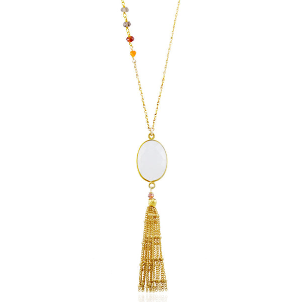 Asymmetric Gold Moonstone Tassel Necklace