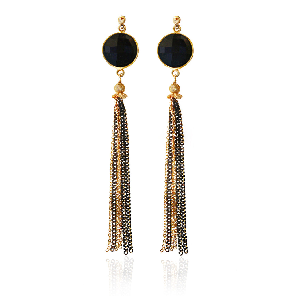 Black Onyx Gold Tassel Earrings