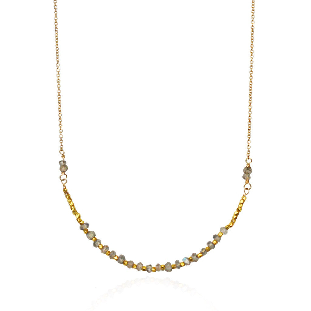 Gold Labradorite Bead Necklace