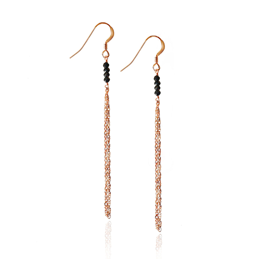 Rose Gold Black Onyx Chain Earrings