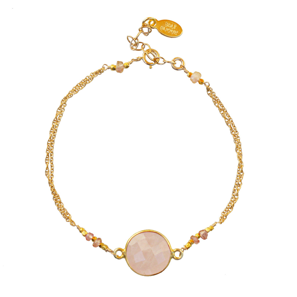 Gold Rose Quartz Gemstone Bracelet