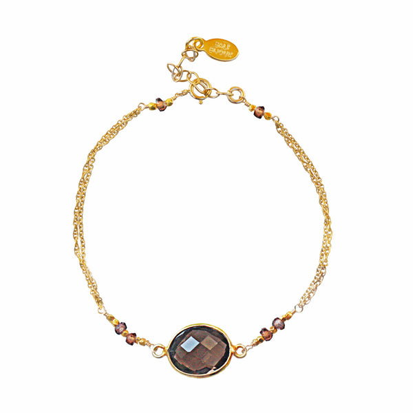 Gold Smoky Quartz Bracelet