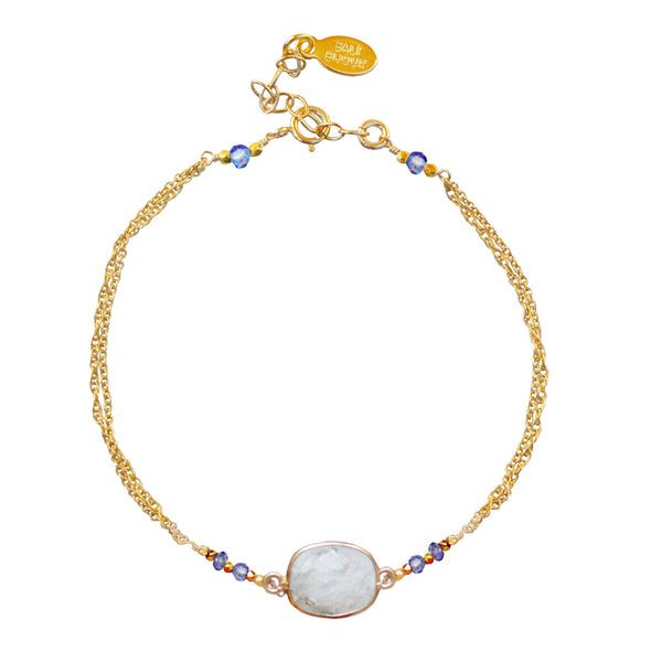 Gold Moonstone & Tanzanite Bracelet