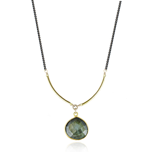 Black & Gold Labradorite Gemstone Necklace