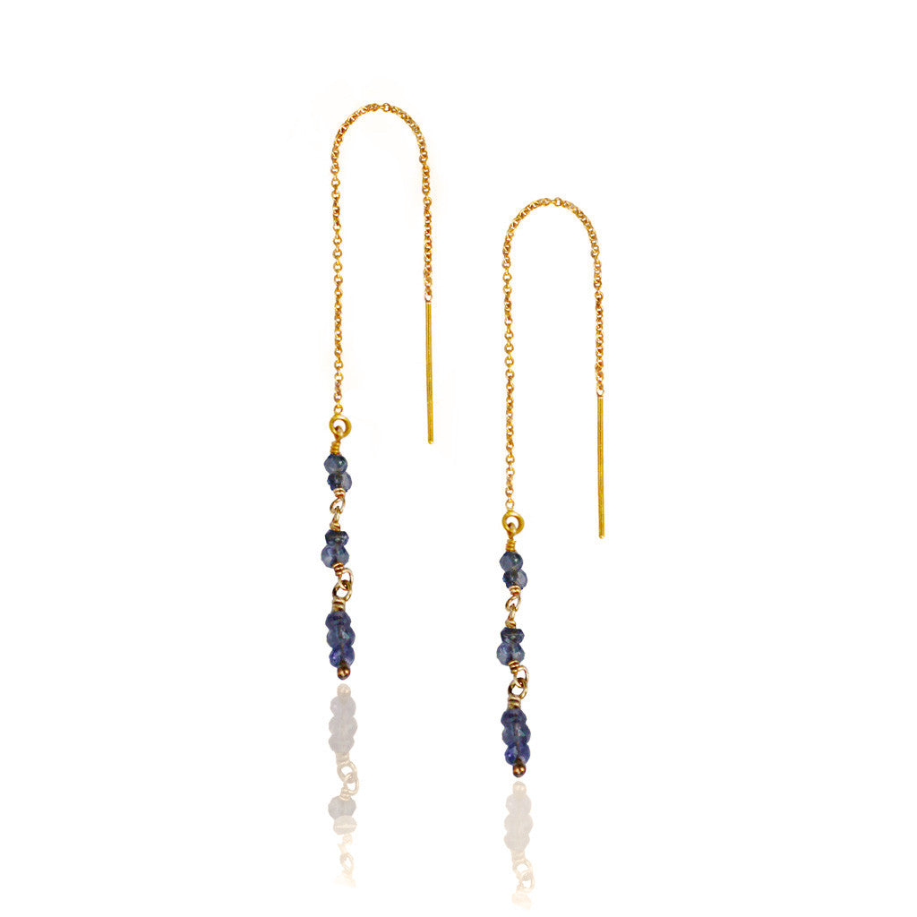 Gold Iolite Thread Through Earrings