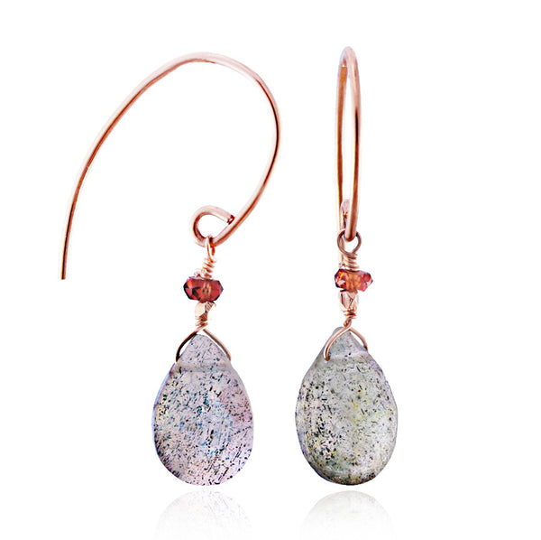 Rose Gold Labradorite & Garnet Earrings