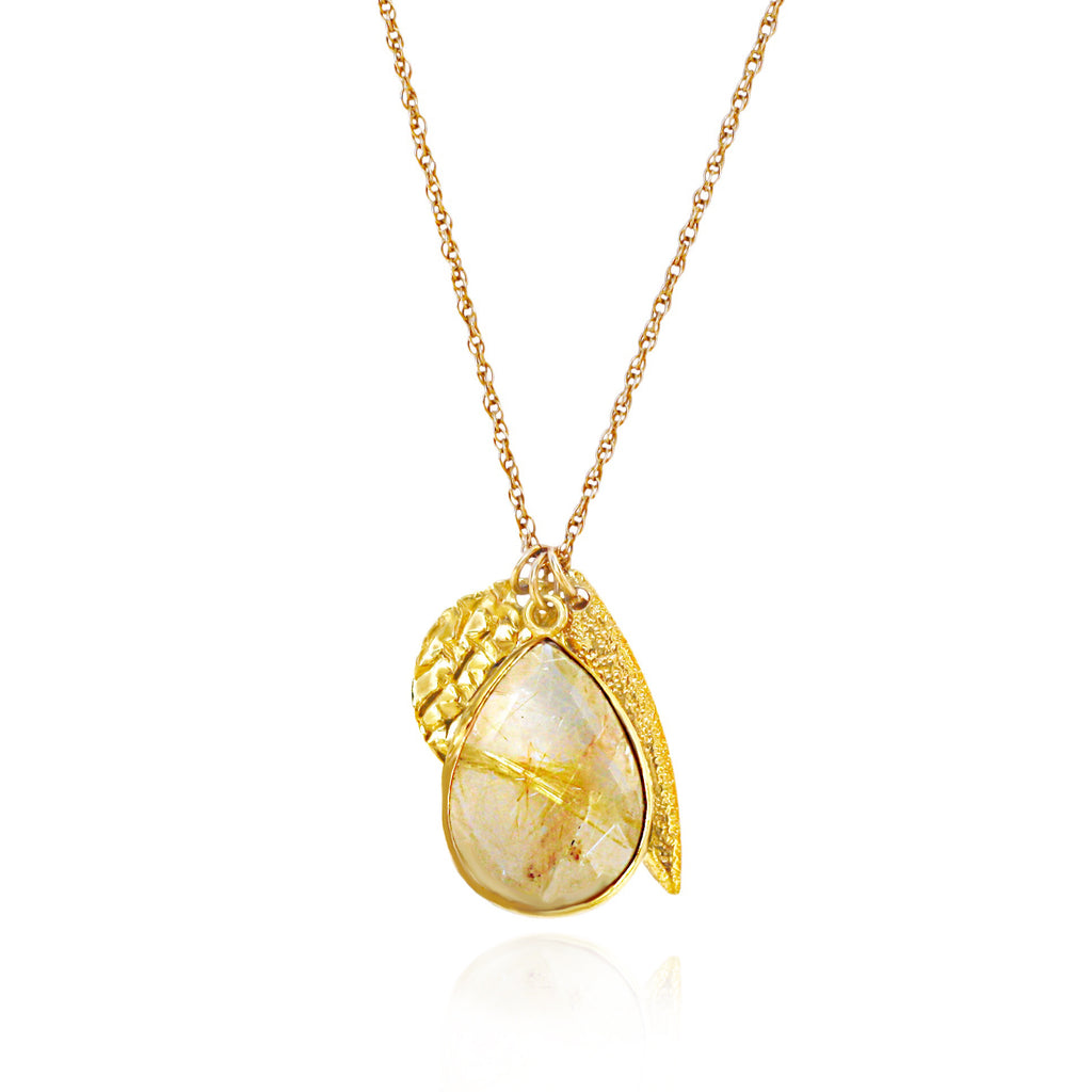 Limited Edition Gold Rutilated Quartz Charm Necklace