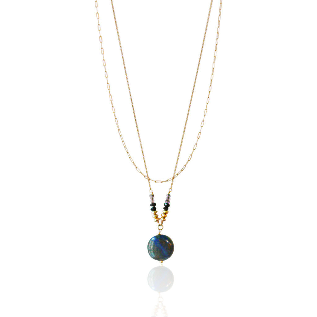 Gold Agate & Black Spinel Layered Necklace