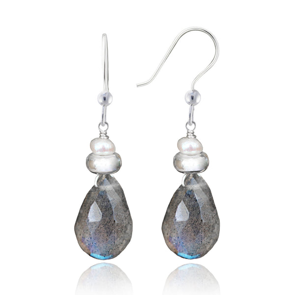 Silver Labradorite & Pearl Earrings