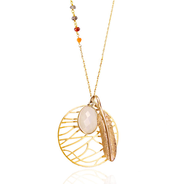 Asymmetric Gold Moonstone Dream Necklace