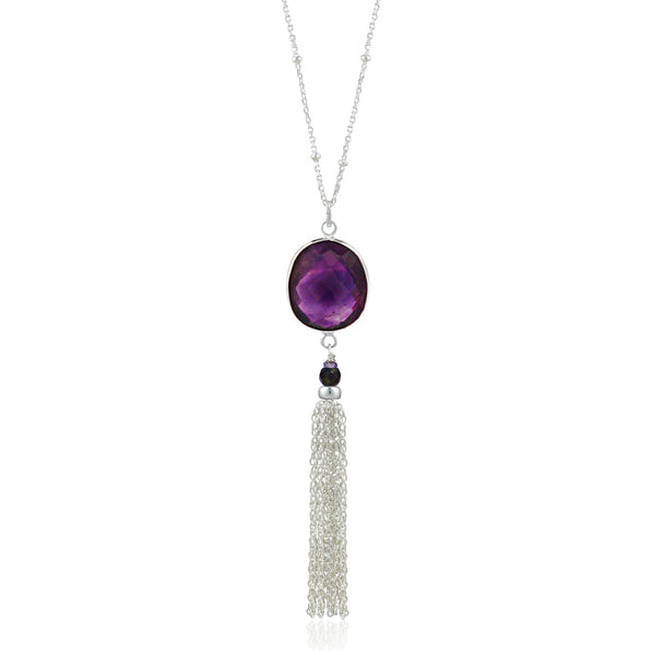 Silver Amethyst Tassel Necklace