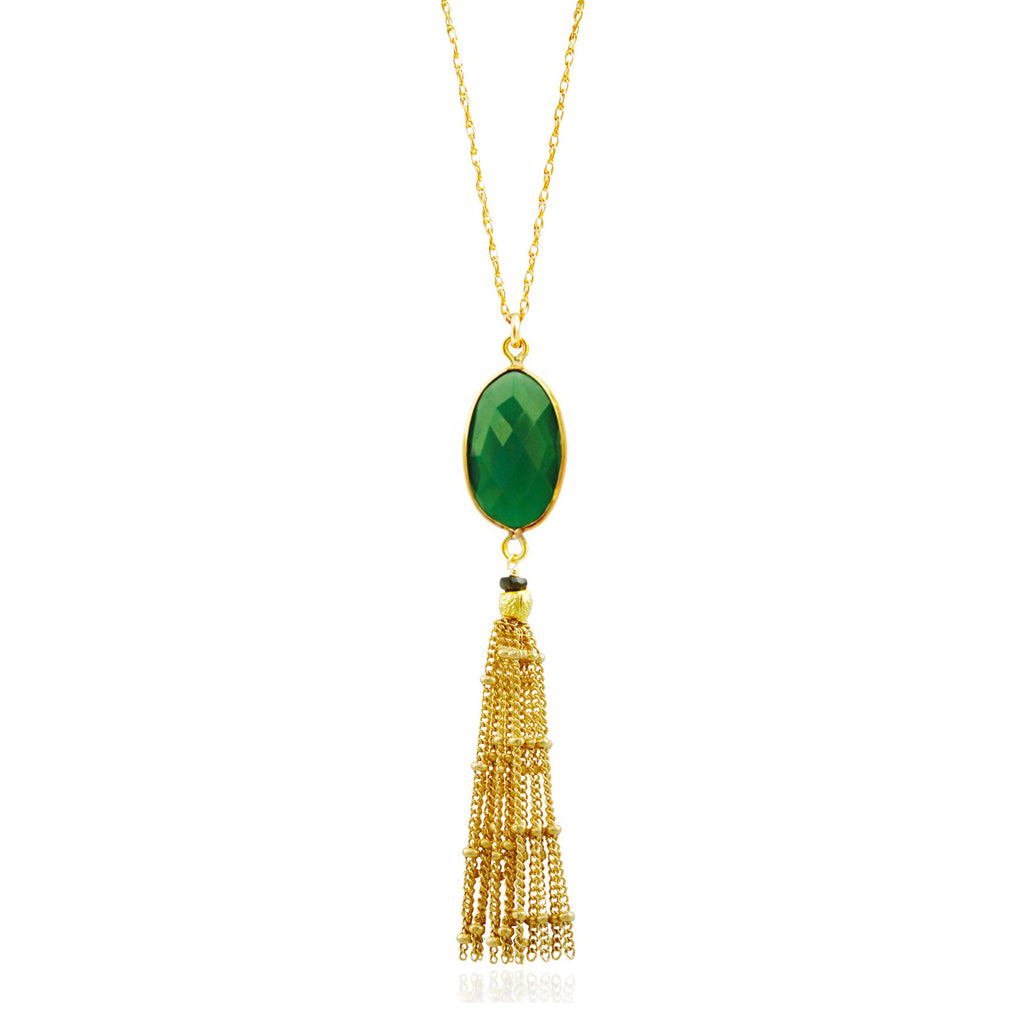 Gold Green Onyx Tassel Necklace