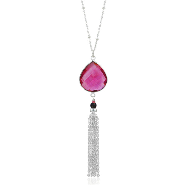Silver Cherry Quartz Tassel Necklace