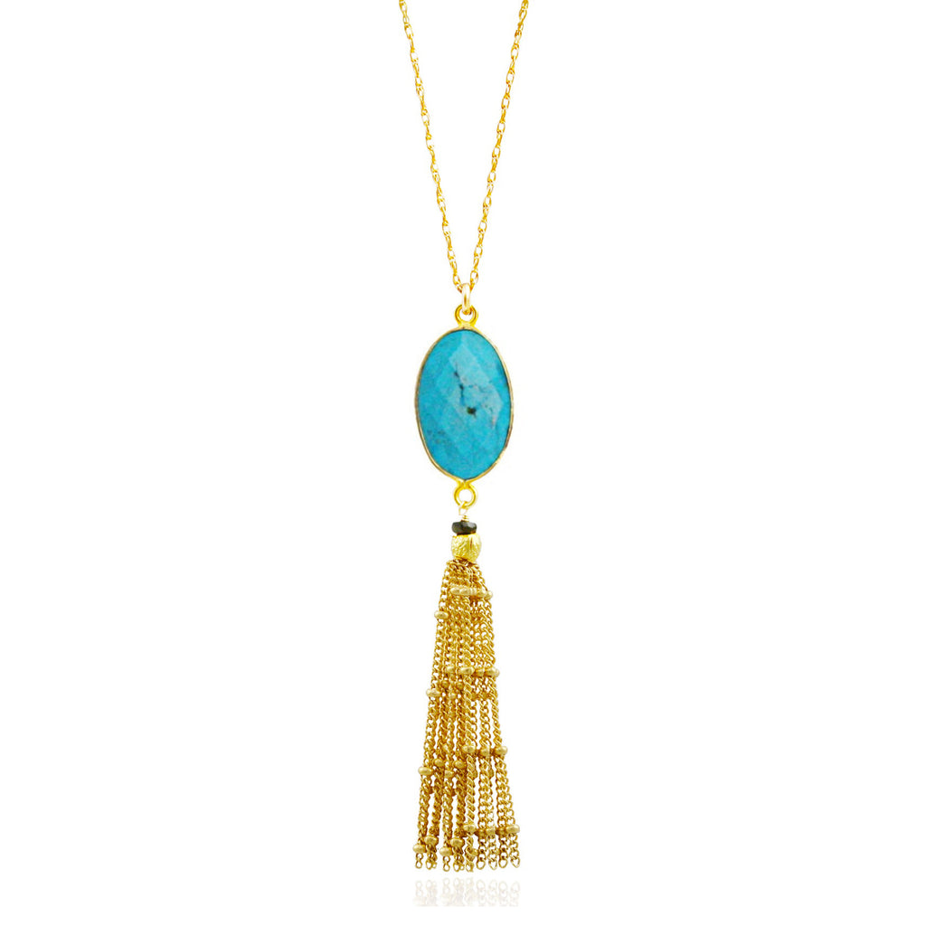 Gold Cherry Quartz Tassel Necklace