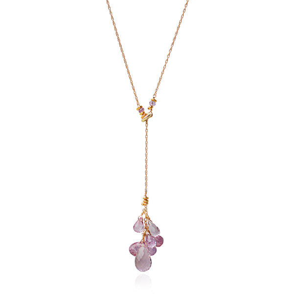 Gold Amethyst Drop Necklace