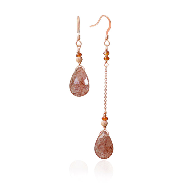 Asymmetric Rose Gold Rutilated Quartz Earrings
