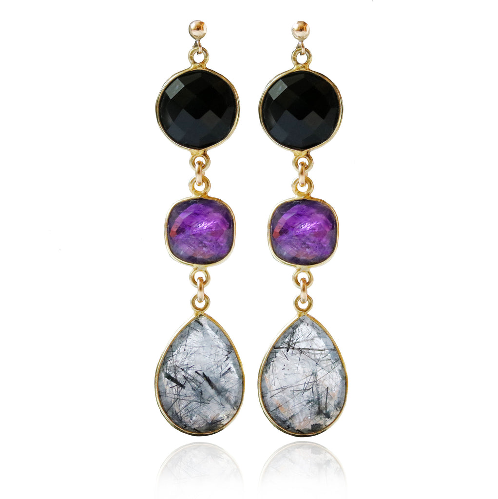 Gold Rutilated Quartz & Amethyst Drop Earrings