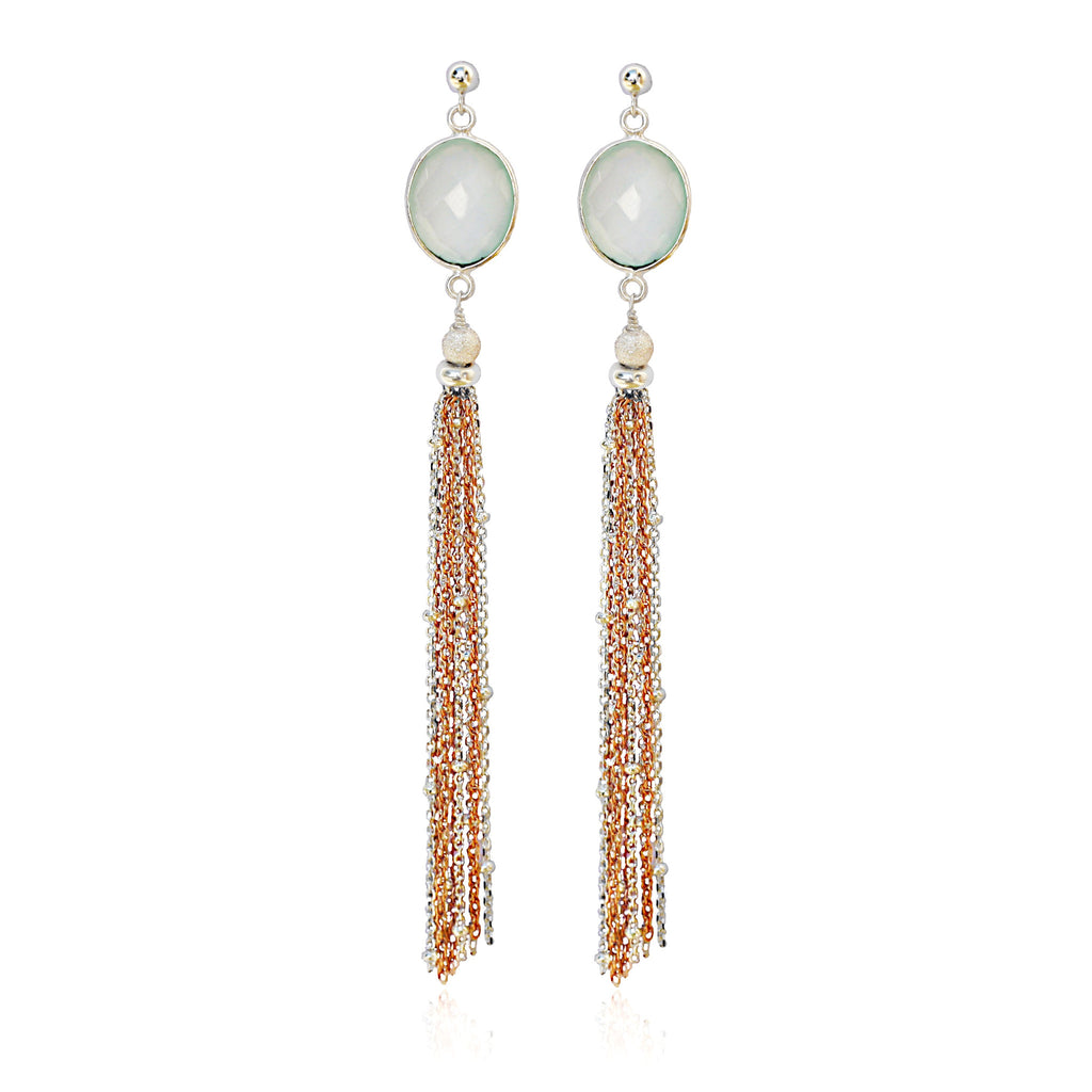 Aqua Chalcedony Silver Rose Gold Tassel Earrings