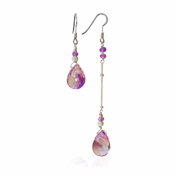 Asymmetric Silver Rutilated Quartz & Amethyst Earrings