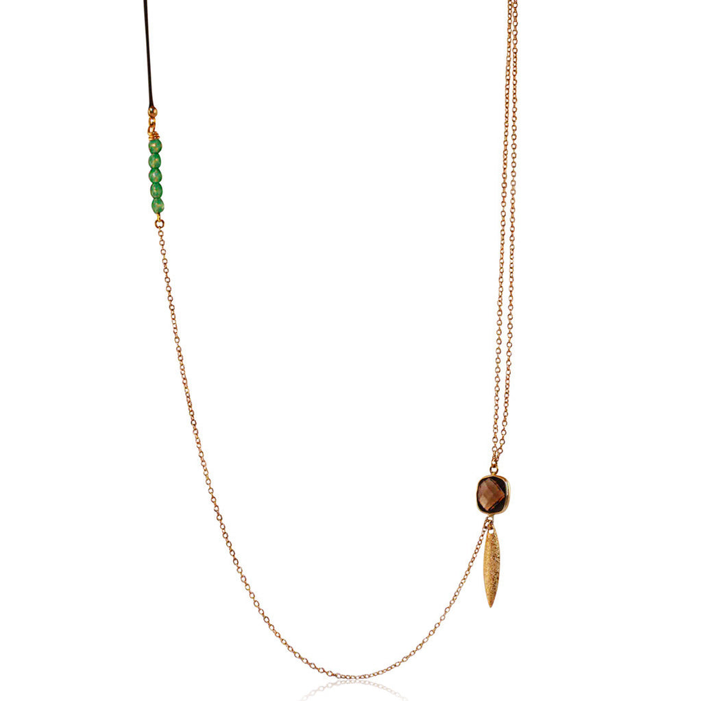 Smoky Quartz & Green Onyx Long Necklace