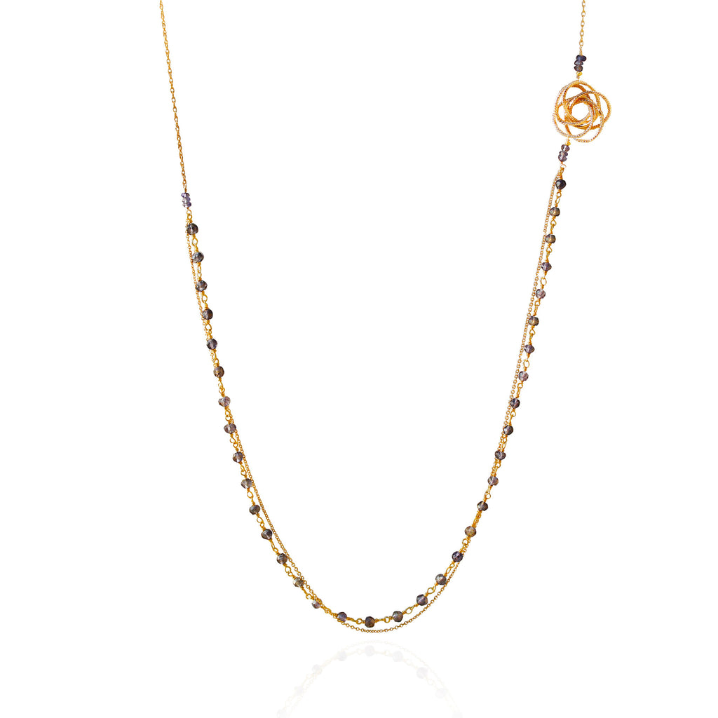 Gold Iolite Long Asymmetric Necklace