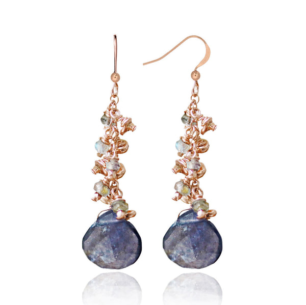 Rose Gold Iolite & Labradorite Earrings