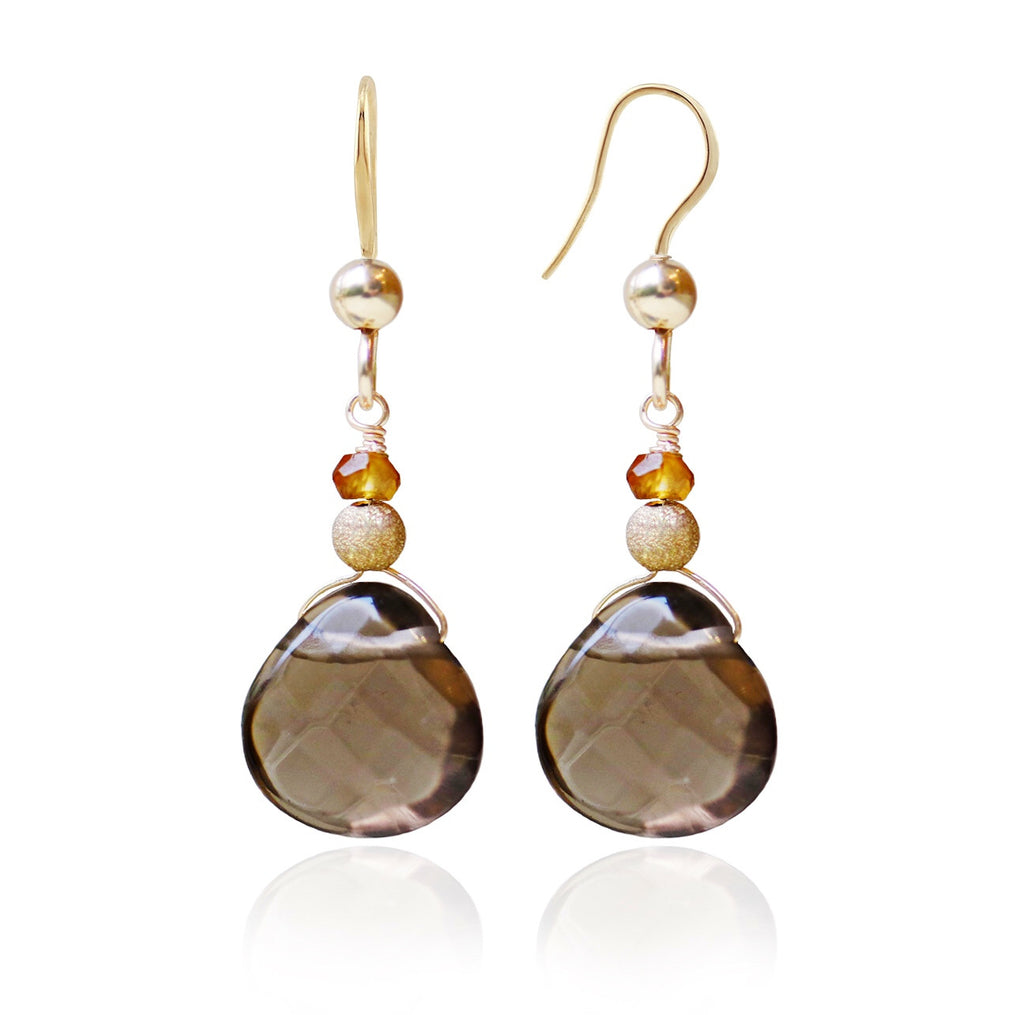 Gold Smoky Quartz & Tundra Sapphire Earrings