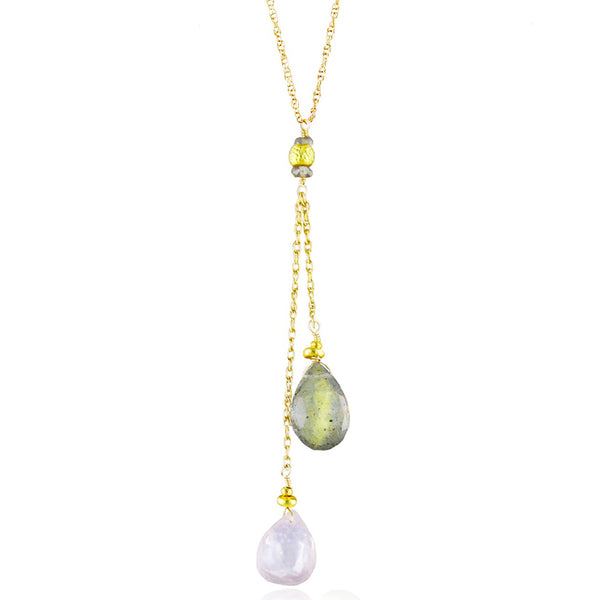 Rose Quartz & Labradorite Drop Necklace