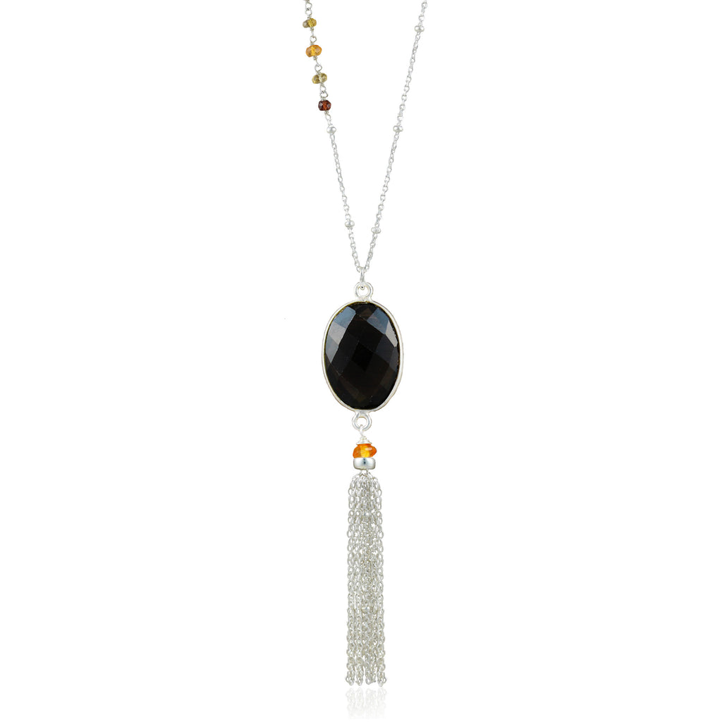 Asymmetric Silver Smoky Quartz Tassel Necklace