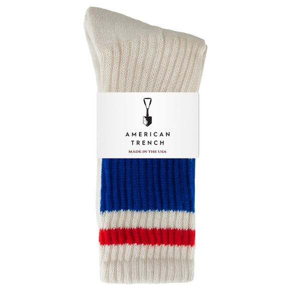 American Trench Retro Stripe Socks - Blue/Red