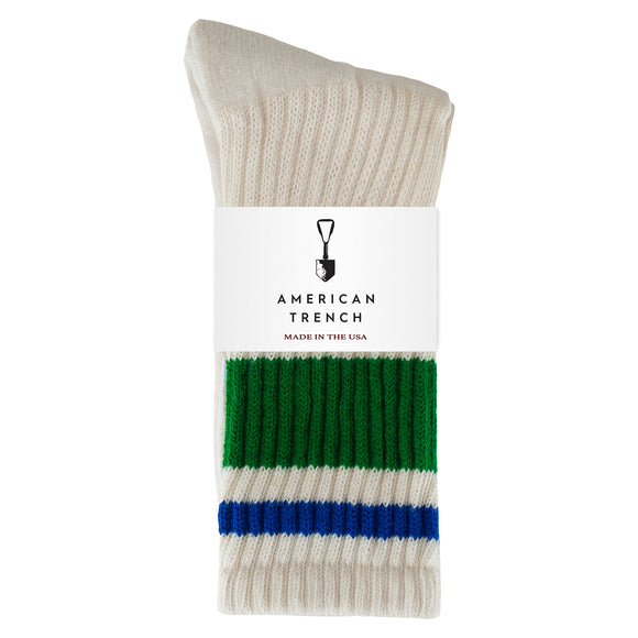 American Trench Retro Stripe Socks - Green/Blue