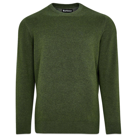 Barbour Pima Cotton Crew Knit - Green Marl