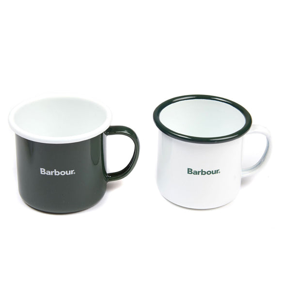 Barbour Enamel Mug Gift Set - White/Green