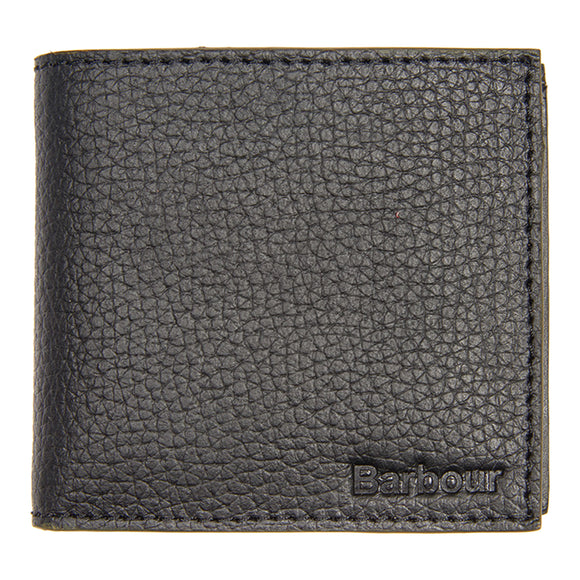 Barbour Grain Leather Billfold Wallet - Black - Arena Menswear